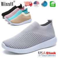 Women's Sneakers Knitted Mesh Breathable Shoes Walking Slip On Flats Sock Shoes