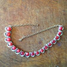 Signed Vintage Retro Coro Moonstone Necklace Cranberry Free Shipping