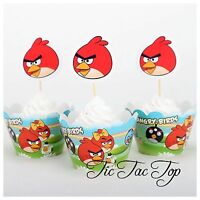 12x Angry Birds Cupcake Toppers + Wrappers. Cake Party Supplies Lolly Loot Bags