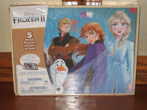 DISNEY FROZEN  2 WOODEN PUZZLES WITH A STORAGE WOODEN BOX 5 DIFFERENT PUZZLES