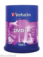 Verbatim 43551 4.7GB 16x DVD+R Matt Silver - 100 Pack Spindle Blank DVDs