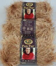 Lion Brand FUN FUR Yarn AMBER #171, EYELASH Yarn, 3 Skein Lot, NEW