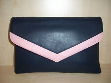 OVER SIZED NAVY BLUE & BABY PINK Faux leather envelope clutch bag zip & clasp.