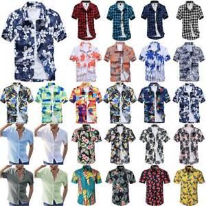 Mens Hawaiian Shirt Short Sleeve Summer Beach Casual Shirts Button Blouse Tops