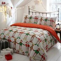 Christmas Duvet Covers Santa Elf Festive Fun Reversible Quilt Cover Bedding Sets