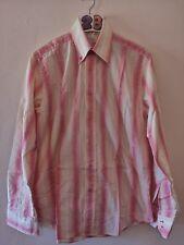 "(28) Men's STVDIO Jeff Banks white/pink/yellow stripe shirt XL 44""."