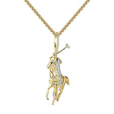 "Sterling Silver Polo Sports Pendant Horse Jockey Charm 14k Gold Finish 24"" Chain"