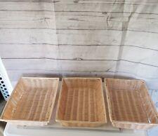 Rectangular Woven Storage Basket, Fruit,Bread,Material Unknown- Medium-3-per-Lot