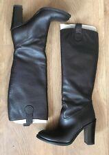 GUCCI Brown 100% Leather Grain High Heel Calf Knee Pull On Winter Boots 5UK 38EU