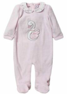 Baby girl sleepsuit babygro velour SWAN bow