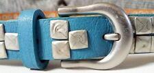 Nietengürtel , Echtleder + PU Anteile , 90 cm , Blau , NEU