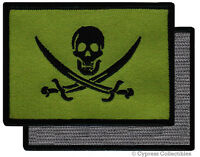 PIRATE FLAG PATCH JOLLY ROGER Skull Green Calico Jack w/ VELCRO® Brand Fastener