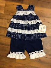 Nautical Eyelet white lace ruffle top Navy Austin Ashley pants 6 months girl