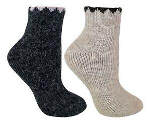 Womens Thick Winter Ankle Low Cut Alpaca Wool Blend Walking Boot Socks LABS