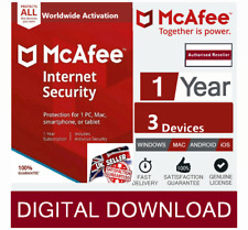 McAfee Internet Security 2020 3 Multi Devices 1 Year - 2  Min Delivery by Email*