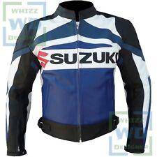 Blue Suzuki GSX Racing Motorbike Moto GP Motorcycle Cowhide Leather Jacket XXXL