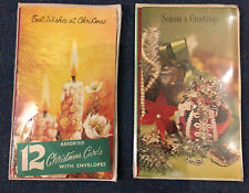 More details for 12 pack 1980's new sealed true vintage cute christmas cards traditional greeting