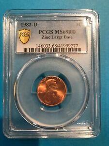 1982-D Large Date Zinc Lincoln Cent PCGS MS68RD Top Pop True View 41959277