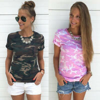 Women Camouflage T-Shirt Camo Top Summer Short Sleeve Workout Casual Blouse Tee