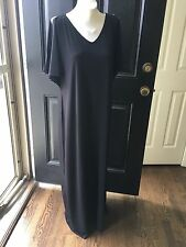 New $119 Rare Chico's Black V-Neck Cold Shoulder Maxi Dress Sz. 3 = XL 16 18 NWT