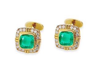 0.96ct Natural Round Diamond Emerald 14K Yellow Gold Anniversary Cuff Link Man