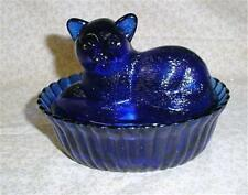 Cobalt Blue Glass Cat Candy Dish/Trinket Box