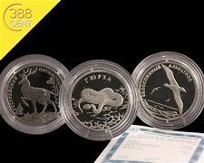 Russland 3x2 Rubel Red Data Book Albatross, Hirsch, Viper Silber PP 2010