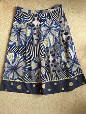M&S Per Una Ladies Navy Blue & Cream Chiffon Embroidered Skirt Size 12