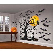 Halloween Wall Decals Party Decorations Removable Stick On Mural Bats Scenery