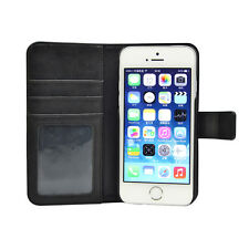 Book PU Leather Cell Phone Case Black-3 Stand Function Apple 5 5s