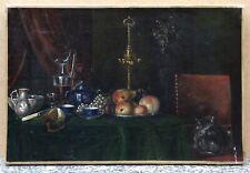 Tableau Ancien Huile Nature Morte Fruits Carafe Vin Intérieur Chat Fauteuil XIXe