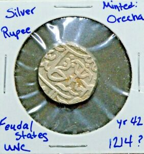 India Princely State, Gwalior, Jayaji Rao, Silver Rupee,1214, RY42, Orchaa Mint