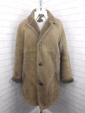Vintage 1980s Men's Long Brown Retro Shearling Sheepskin Suede Jacket Coat 42