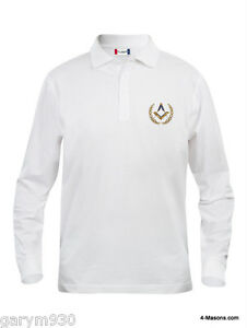 Quality White Long sleeved Polo Pique embroidered with Square b& Compass Design