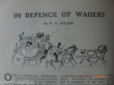 In Defence of Wagers Sports Betting Gambling Horses Old Edwardian 1908 Article