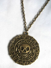 PIRATES OF THE CARIBBEAN AZTEC COIN BRONZE MEDALLION SKULL CHARM FANCY DRESS NEC
