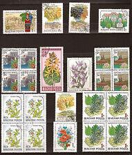 HONGRIE 4 blocs de 4 timbres + 8 timbres oblitérés.  Fleurs-fruits  133T5