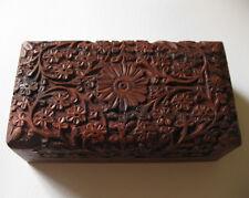 New Hand Carved Wood Keepsake Stash Trinket Box Wooden Flower Pattern M