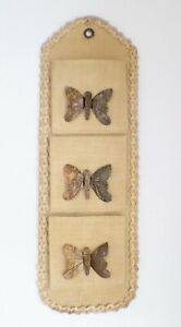VTG Straw & Raffia 3 Slotted Mail Holder w/Wooden Butterflies Wall Hanging