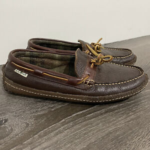 VTG LL Bean Mens Moccasin Slippers Sz 7 Handsewn Brown Leather Flannel Lined