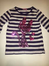 LC Waikiki Girl's Striped Sequins Cat Shirt Purple/White Size 3-4T 98-104 Cm