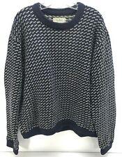 Vintage LL BEAN BIRDSEYE Mens Blue Norway Norwegian Fisherman Wool Sweater XL