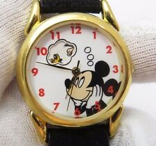"MICKEY MOUSE""Disney Dreaming of Friends"" Blk Calf Skin Band, Mens/Kids WATCH 278"