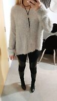 TOPSHOP JUMPER SWEATR KNITTED FLUFFY SHAGGY GREY SILVER SLOUCHY SHINY SIZE 12 14