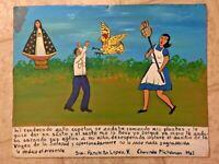 "Vintage 1962 Mexican Folk Art Retablo Hand Painted on Tin 9"" x 12"""