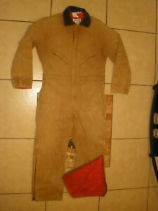 VTG WALLS ZERO ZONE Duck Canvas Quilt Lined Winter Insulated Coveralls Large