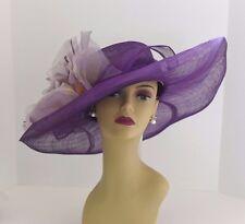 Kentucky Derby, Church, Wedding Silk Flower Sinamay Wide Hat 509 (Dark Purple)