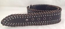 """Faux Leather 2 1/2"""" Wide STUDS Belt 35-1/2"""" Real leather edge, Buckle Steam Punk"""