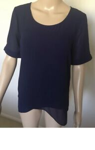 Jacqui-E Top Size 10 Navy Blue Short Sleeve Lined