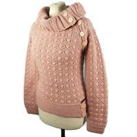 River Island 10 Light Dusky Pink Chunky Knit Button Roll Neck Wool Blend Jumper